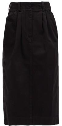Lemaire High-rise Pleated-front Denim Midi Skirt - Womens - Black