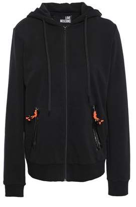 Love Moschino Neon-trimmed French Cotton-blend Terry Hoodie