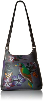 Anna by Anuschka Genuine Leather Triple Compartment Satchel | Hand Painted Original Artwork | Bird on a Branch Gray