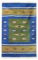 Wool Blue and Green Area Rug Handmade (4x6), 'Diamond Star'