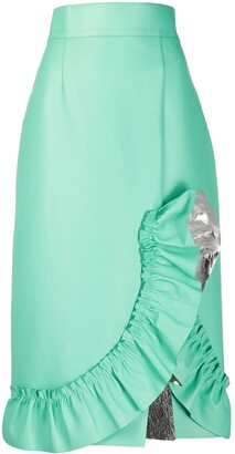 Miu Miu Ruffle Trimming Midi Skirt