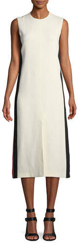 Burberry Selene Sleeveless Side-Striped Midi Dress