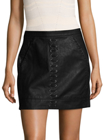 Blank NYC Faux Leather Lace Up Trimmed Mini Short