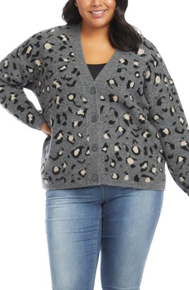 Karen Kane Leopard Jacquard Cardigan