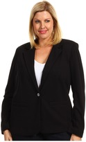 MICHAEL Michael Kors Plus Size Structured Knit L/S Blazer (Black) - Apparel