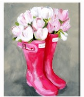 Oliver Gal Tulips Rain Boots Canvas Wall Art