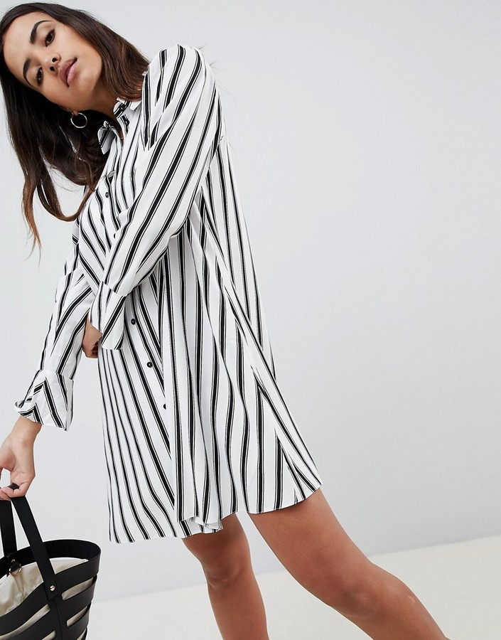 ASOS DESIGN stripe long sleeve shirt mini dress