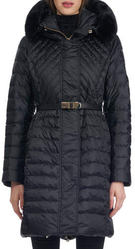 Gorski Hooded Quilted Puffer Après-Ski Jacket with Mink Trim