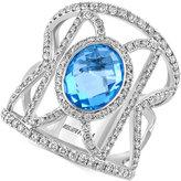 Effy Blue Topaz (2-7/8 ct. t.w.) and Diamond (1 ct. t.w.) Geometric Ring in 14k White Gold