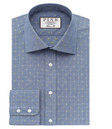 Thomas Pink Bared Check Classic Fit Button Cuff Shirt