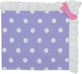 "Elegant Baby 100% Cotton Sweater Knit Blanket, Purple with Polka Dots and Pink Ribbon Accent, 30"" X 40"""