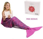 Mermaid Tail Blanket, Amyhomie Mermaid Blanket Adult Mermaid Tail Blanket, Crotchet Kids Mermaid Tail Blanket for Girls (Kids, Rainbow-Pink)