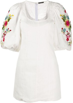 Wandering Floral Embroidered Mini Dress