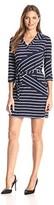 Tiana B Women's 3/4 Sleeve Stripe Knit Shirt Dress with Self Tie Belt