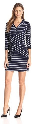 Tiana B Women's 3/4 Sleeve Stripe Knit Shirt Dress with Self Tie Belt