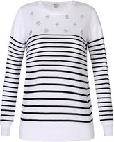 Richie House Girls' Striped Cotton Pullover Sweater with Hot Drillings RH2585-A-5/6
