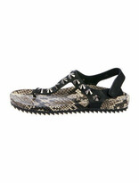 Thumbnail for your product : Pedro Garcia Embossed Leather T-Strap Sandals Black
