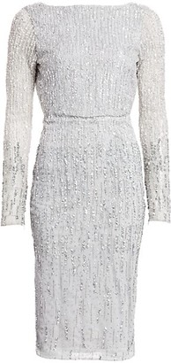 Rachel Gilbert Long-Sleeve Allover Ombre Beaded Sheath Dress