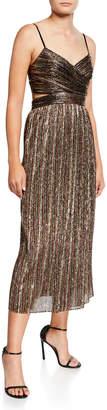 Aidan Mattox Pleated Metallic Stripe Sleeveless Midi Cocktail Dress