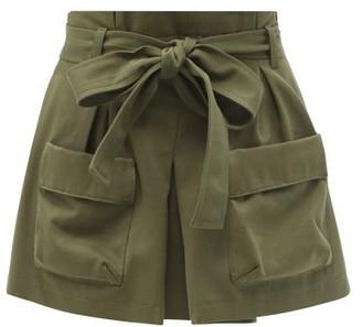 RED Valentino Paperbag-waist Cotton-blend Cargo Shorts - Khaki