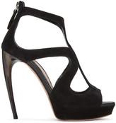 Alexander McQueen Black Horn Heel Sandals