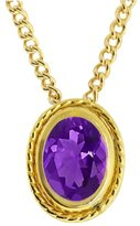 Gem Stone King 0.75 Ct Oval 7X5mm Amethyst Gold Plated Silver Pendant With 18 Inch Chain