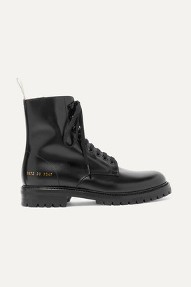 Common Projects Combat Leather Ankle Boots - Black