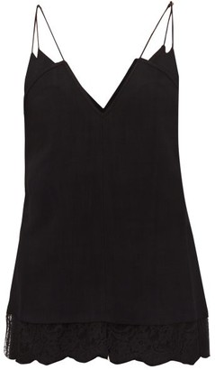 KHAITE Eleanor Lace-trim Cami Top - Womens - Black