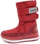 Sakura Red Double-Strap Snow Boot