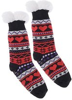 Wanted Girl's Snowflake Thermal Plush Knee High Slipper Socks (Black)