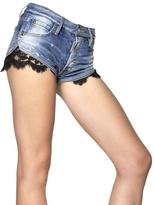 DSquared Lace & Stretch Cotton Denim Hot Pants