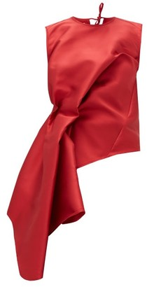 Marques Almeida Waterfall-waist Twill Top - Red