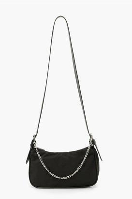 boohoo Nylon Pu Strap Cross Body Bag With Chain
