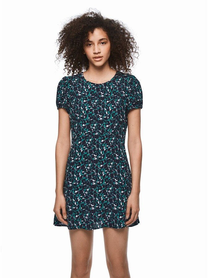 Pepe Jeans Dua Lipa Short Shift Dress in Floral Print with Short Sleeves