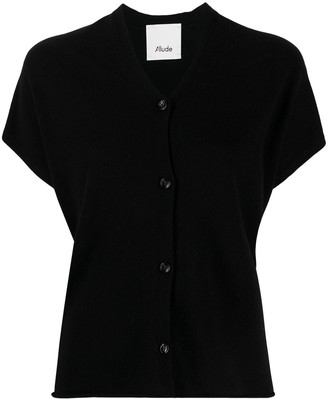 Allude Short-Sleeve Relaxed Cardigan