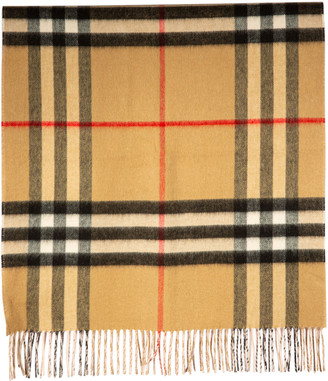 Burberry Giant Check Solid Long Double Faced Cashmere Scarf