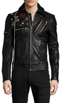 Diesel Black Gold Lyberte Embellished Leather Biker Jacket