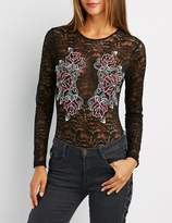 Charlotte Russe Floral Embroidered Lace Bodysuit