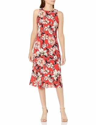 Kasper Women's Watercolor Bouquet Print Sleevless Knit Dress