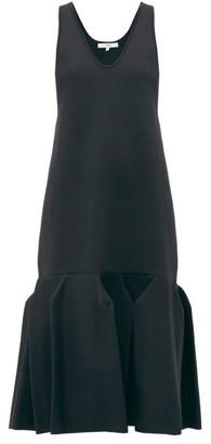 Tibi Godet-hem Jersey Midi Dress - Womens - Navy
