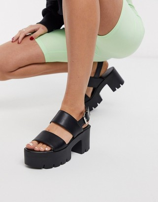 Truffle Collection chunky flatform heeled sandals in black