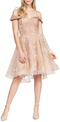 Occasion By Dex Off-the-Shoulder Sequin Floral Tulle Dress