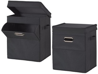 Mainstays Front Loading Stackable Small Laundry Hamper with Lid, 2 Pack, Black