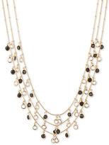 Anne Klein Shaky Jet Circle Drop Three-Strand Necklace