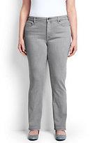 Lands' End Women's Plus Size Mid Rise Straight Leg Jeans-Black