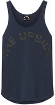 The Upside Issy Printed Cotton-jersey Tank - Storm blue