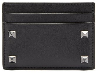 Valentino Rockstud Leather Cardholder - Black