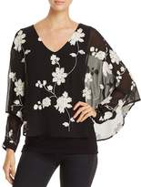 Avec Floral Embroidered Batwing Overlay Top