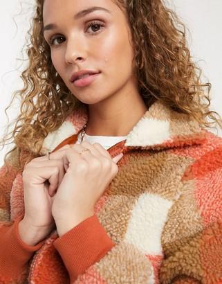 Parisian jacket in check borg-Orange