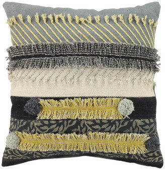 Brimfield & May Square Gray and Gold Multi-Patterned Decorative Throw Pillow
